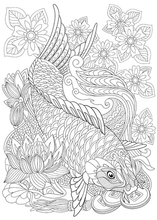 stylized cartoon koi carp