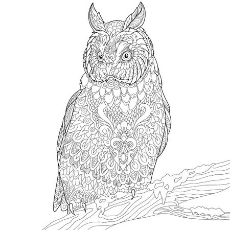 eagle owl: stylized cartoon eagle owl Illustration