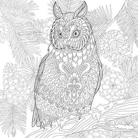 stylized cartoon eagle owl Illustration