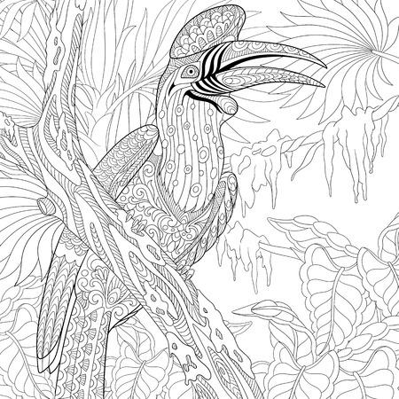 gestileerde cartoon neushoorn neushoornvogel vogel (Buceros neushoorn) Stock Illustratie