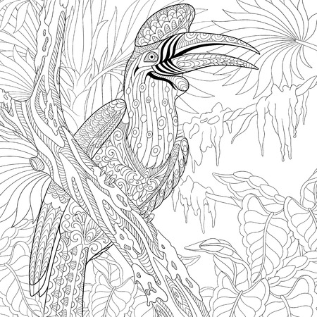 stylized cartoon rhinoceros hornbill bird (Buceros rhinoceros) Illustration