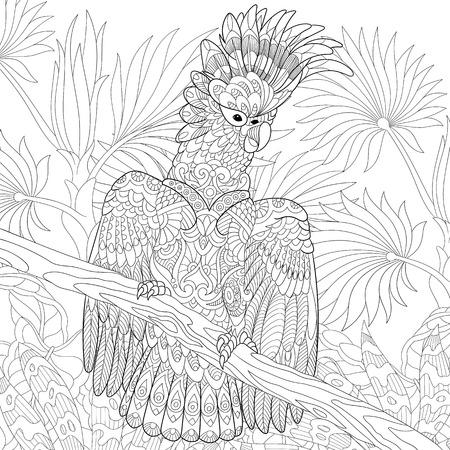 gestileerde cartoon kaketoe papegaai in tropisch bos jungle