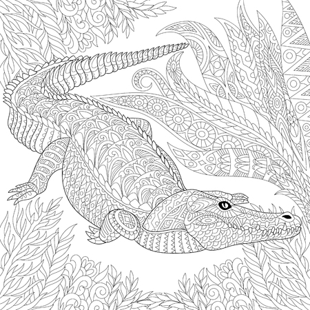 stylized cartoon crocodile (alligator) among jungle foliage