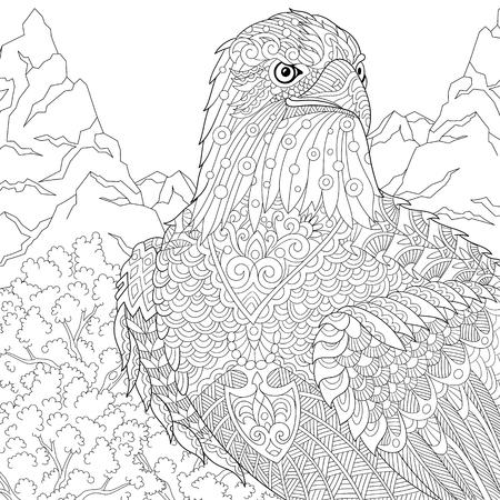 먹이의 양식에 일치시키는 만화 독수리