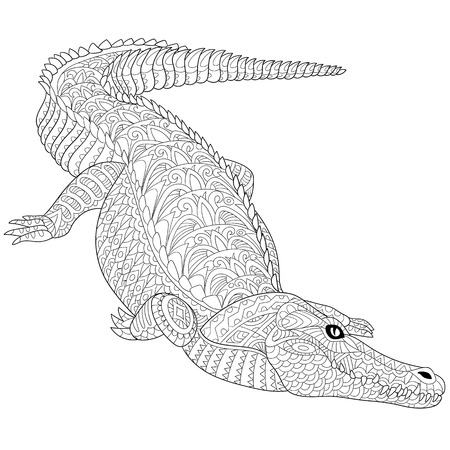 stylized cartoon crocodile (alligator) isolated on a white. sketch for adult antistress coloring page, T-shirt emblem, tattoo with doodle, floral design elements