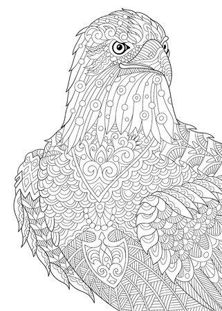 antistress: stylized cartoon eagle of prairie (hawk, falcon, osprey).  sketch for adult antistress coloring book page, T-shirt emblem,  tattoo with doodle, floral design elements.