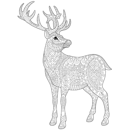 antistress: stylized cartoon deer (stag, christmas reindeer). sketch for adult antistress coloring book page, T-shirt emblem, or tattoo with doodle,  and floral design elements.