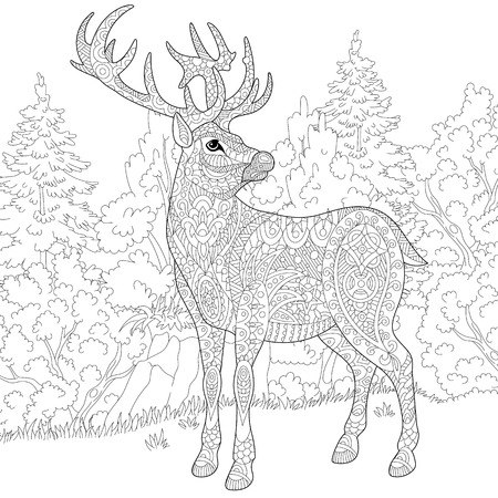 stylized cartoon deer (stag, christmas reindeer).  sketch for adult antistress coloring book page, T-shirt emblem, or tattoo with doodle, and floral design elements. Vectores