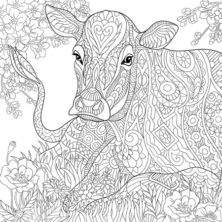 stylized cartoon pasturing cow, flower blossom, grass field. sketch for adult antistress coloring book page, T-shirt emblem, tattoo with doodle, floral design elements.