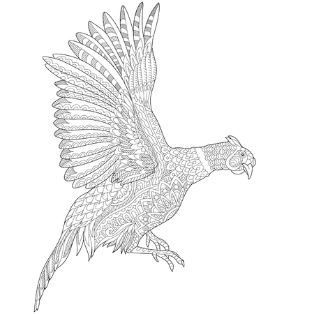 antistress: stylized cartoon flying pheasant bird (cock, hen, phoenix). sketch for adult antistress coloring book page, T-shirt emblem, tattoo with doodle, design elements.