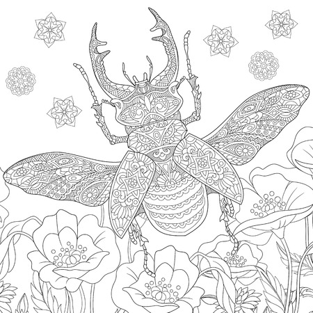 antistress: stylized cartoon stag beetle (deer beetle, Lucanus cervus).  sketch for adult antistress coloring book page, T-shirt emblem,  tattoo with doodle, design elements.