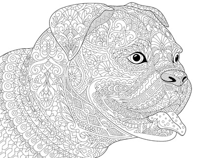 antistress: stylized cartoon german boxer dog breed isolated on white background.  sketch for adult antistress coloring book page, T-shirt emblem, tattoo with doodle, design elements
