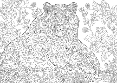 stylized cartoon bear (grizzly bear) among blackberries or raspberries in woodland.  sketch for adult antistress coloring book page with doodle,  floral design elements.