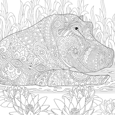 stylized cartoon hippopotamus (hippo) swimming among lotus flowers and pond algae. sketch for adult antistress coloring book page with doodle,  floral design elements.