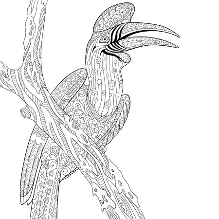 antistress: stylized cartoon rhinoceros hornbill bird (Buceros rhinoceros).  sketch for adult antistress coloring page, T-shirt emblem,  tattoo with doodle,  floral elements.