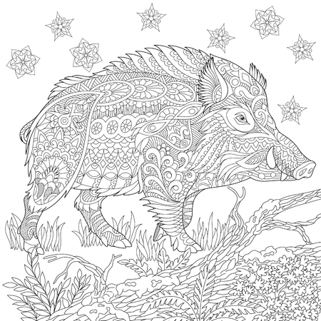wild hog: stylized cartoon wild boar (razorback, warthog, hog, pig). sketch for adult antistress coloring book page, T-shirt emblem, tattoo with doodle, design elements.