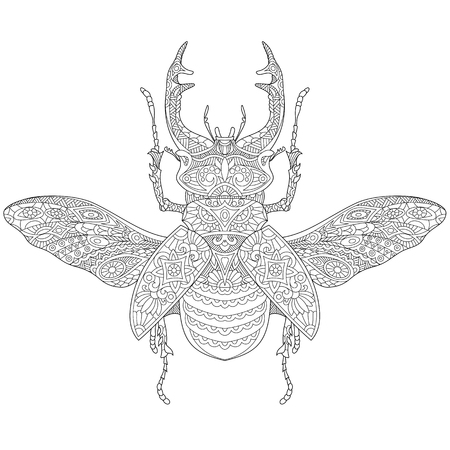 stag beetle: stylized cartoon stag beetle (deer beetle, Lucanus cervus). sketch for adult antistress coloring book page, T-shirt emblem,  tattoo with doodle, design elements. Illustration