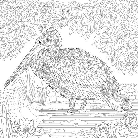 water lilies: Stylized pelican standing among water lilies (lotus flowers) and pond algae.  sketch for adult anti stress coloring book page with doodle and elements. Illustration