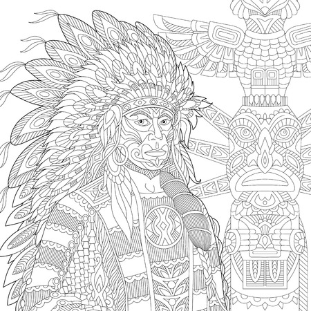 native american man: Stylized red indian chief (redskin man) wearing traditional headdress.  sketch for adult anti stress coloring book page with doodle and elements.