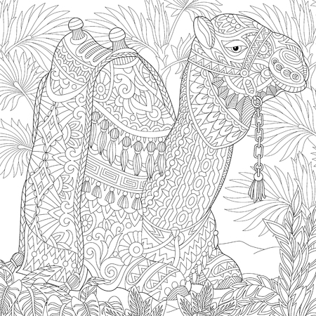 Stylized camel sitting among palm trees in desert oasis.  sketch for adult anti stress coloring book page with doodle and elements.