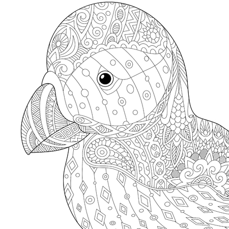 Stylized puffin (atlantic sea bird), isolated on white background. sketch for adult anti stress coloring book page with doodle and elements.