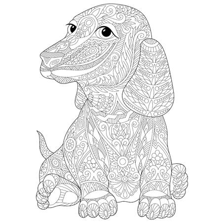 Gestileerde teckel (teckel of duits dassenhond), geïsoleerd op een witte achtergrond. schets voor volwassen anti-stress kleurboek pagina met doodle en elementen.