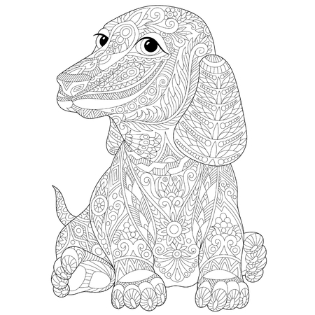 badger dog: Stylized dachshund (teckel or german badger dog), isolated on white background. sketch for adult anti stress coloring book page with doodle and elements. Illustration