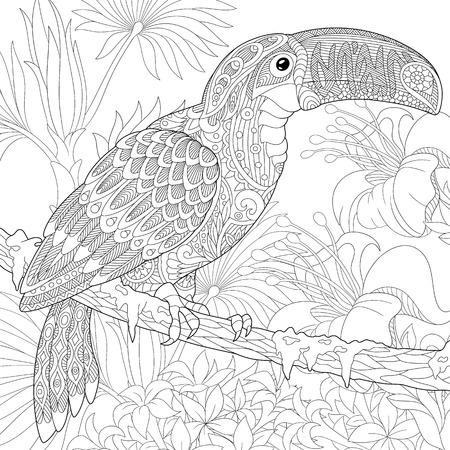Gestileerde Toucan vogel zittend op palm tak onder hibiscus bloemen. Freehand schets voor volwassen anti stress kleur boek pagina met doodle elementen.