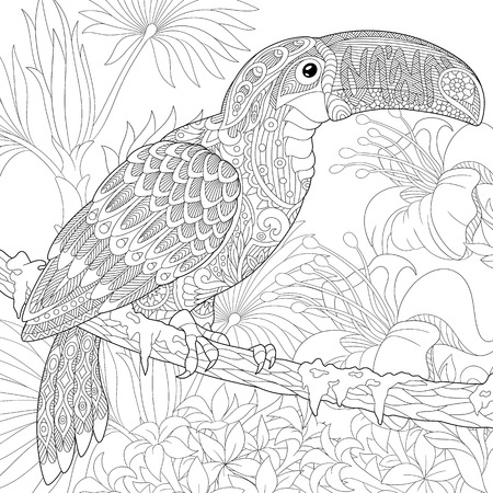 Stylized toucan bird sitting on palm tree branch among hibiscus flowers. Freehand sketch for adult anti stress coloring book page with doodle elements. Illustration
