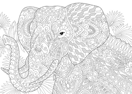 Stylized elephant among leaves of palm tree. Freehand sketch for adult anti stress coloring book page with doodle elements.