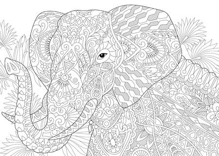 Stilisierte Elefant unter Blättern der Palme. Handskizze für Erwachsene Anti-Stress-Malbuch Seite mit Doodle-Elemente.