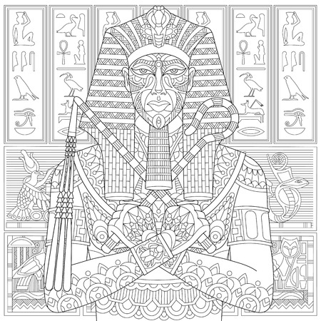 tutankhamen: Stylized ancient pharaoh and egyptian symbols (hieroglyphs) on the background. Freehand sketch for adult anti stress coloring book page with doodle elements. Illustration