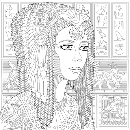Stylized ancient queen Cleopatra (or Nefertiti) and egyptian symbols (hieroglyphs) on the background. Freehand sketch for adult anti stress coloring book page with doodle elements.
