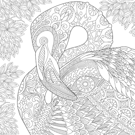 subtropics: Stylized flamingo bird among jungle foliage. Freehand sketch for adult anti stress coloring book page with doodle elements. Illustration