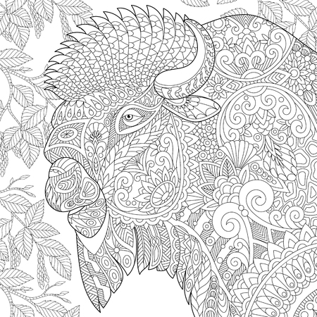 yak: Stylized buffalo (american bison, bull, ox, yak, aurochs) among birch tree leaves. Freehand sketch for adult anti stress coloring book page with doodle elements.