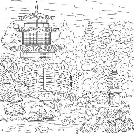 Stylized oriental temple - japanese or chinese tower pagoda. Landscape with trees, lake, stones, flowers. Freehand sketch for adult anti stress coloring book page with doodle  elements.