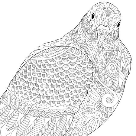 Stylized dove or pigeon bird, isolated on white background. Freehand sketch for adult anti stress coloring book page with doodle elements.