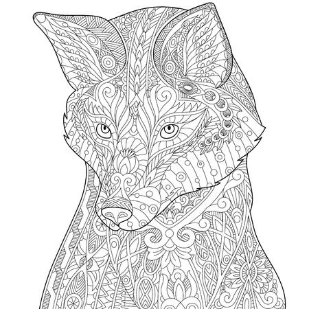 Gestileerde vos (wolf of hond), geïsoleerd op een witte achtergrond. Freehand schets voor volwassen anti stress kleur boek pagina met doodle elementen. Stock Illustratie