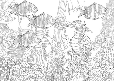 Stylized composition of tropical fish, seahorse, underwater seaweed, corals and starfish. Freehand sketch for adult anti stress coloring book page with doodle elements.