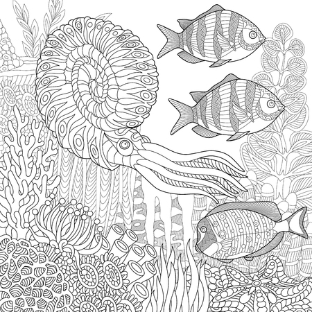 Stylized composition of tropical fish, calamari (squid), underwater seaweed, corals and starfish. Freehand sketch for adult anti stress coloring book page with doodle elements.