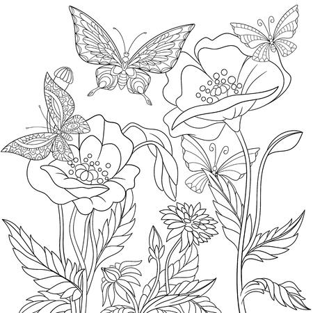 様式化された蝶とケシの花。アンチ ストレス着色大人のフリーハンド スケッチを備えた落書き要素を持つページ。  イラスト・ベクター素材