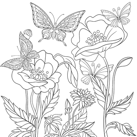 Stylized butterflies and poppy flowers. Freehand sketch for adult anti stress coloring book page with doodle elements.