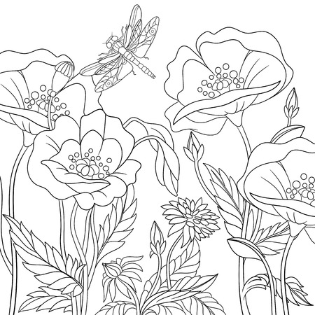 Stylized dragonfly and poppy flowers. Freehand sketch for adult anti stress coloring book page with doodle elements. Иллюстрация