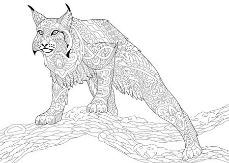 Stylized hunting wildcat