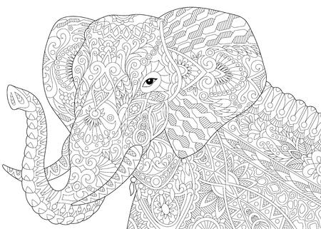 tusks: Stylized elephant, isolated on white background