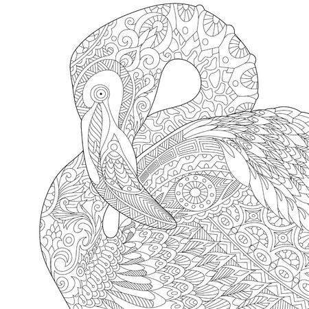 Stylized flamingo bird, isolated on white background. Stock Illustratie