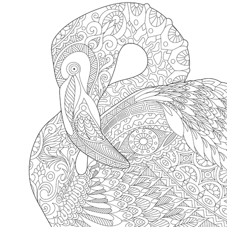 Stylized flamingo bird, isolated on white background. Illustration