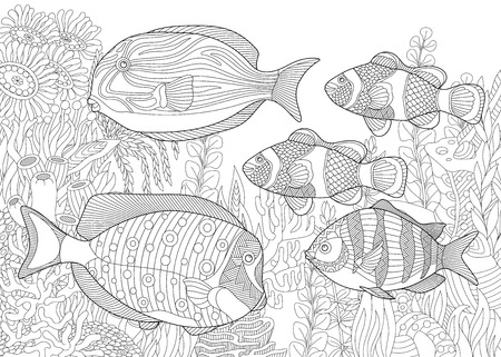 Stylized composition of tropical fish, underwater seaweed and corals.