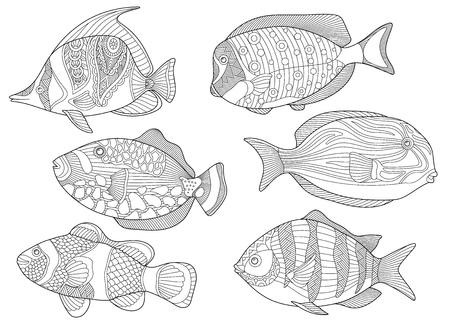 Stylized collection of underwater tropical fishes. Ilustração