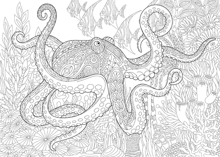 Stylized composition of octopus (poulpe), tropical fish, underwater seaweed and corals. Freehand sketch for adult anti stress coloring book page with doodle and zentangle elements.